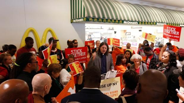 Rally at a McDonald's restaurant in Albany, NY