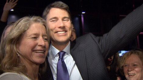 Vancouver Mayor Gregor Robertson celebrates his re-election. Nov. 19, 2011. (CTV)