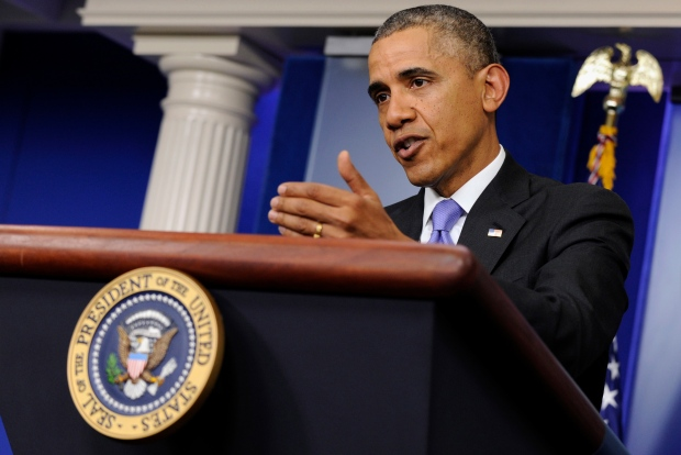Barack Obama in Briefing Room
