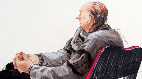 An artist's drawing of serial killer Robert Pickton listening to the guilty verdict handed to him in B.C. Supreme Court in New Westminster, Sunday, Dec. 9, 2007.(THE CANADIAN PRESS/Felicity Don)