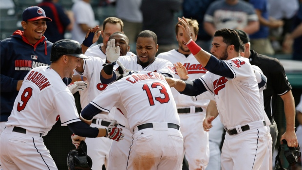 Cleveland Indians celebrate with Cabrera