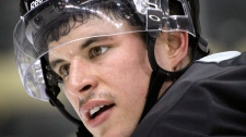 Pittsburgh Penguins' Sidney Crosby pauses between drills as he participates in practice with teammates on Thursday, Nov. 10, 2011 in Pittsburgh. (AP / Keith Srakocic)
