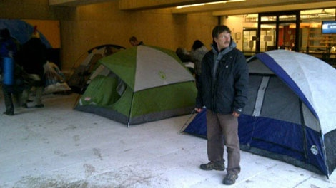 Occupy Vancouver protesters set up camp at the provincial court downtown. Nov. 21, 2011. (Mi-Jung Lee for ctvbc.ca)