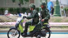 Soldiers patrol Bangkok