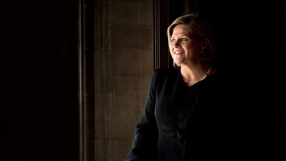 Ontario NDP leader Andrea Horwath poses for a portrait after she delivers her campaign platform during a campaign stop in Toronto on Thursday, May 22, 2014. (Nathan Denette / THE CANADIAN PRESS)