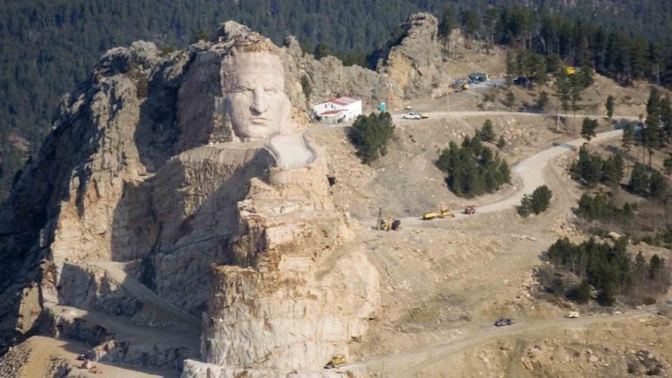 April 22, 2008 photo of the Crazy Horse mountain memorial the Black Hills of South Dakota. (AP / Mike Stewart, File)