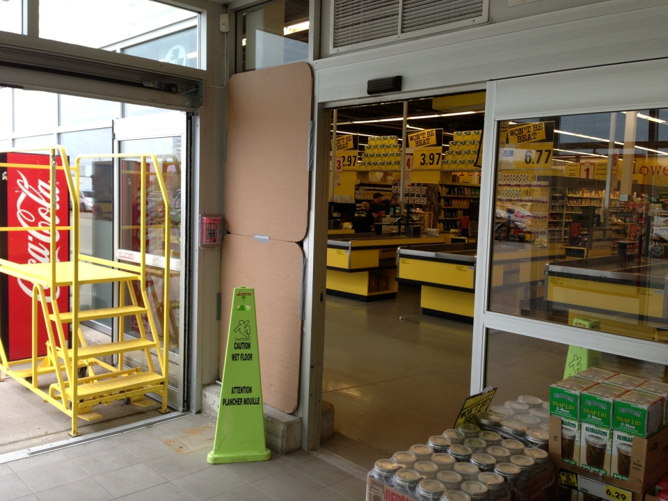 The former home of an ATM at the No Frills store in New Hamburg is seen on Tuesday, May 20, 2014. (Brian Dunseith / CTV Kitchener)