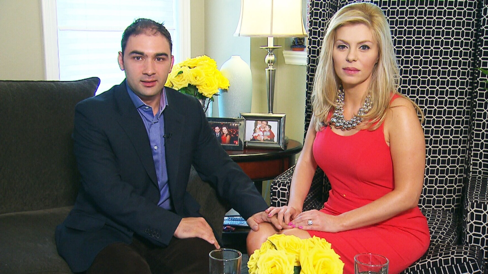Conservative MP Eve Adams and her fiance Dimitri Soudas appear in an interview with Robert Fife for CTV's Question Period on Friday, May 23, 2014.