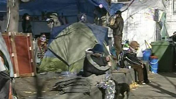 Members of the Occupy Montreal movement are so determined to stay put, they bought a new tent on Monday (Nov. 21, 2011)