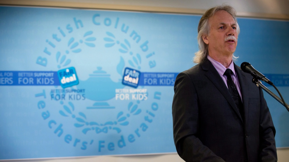 B.C. Teachers' Federation president Jim Iker speaks during a news conference in Vancouver, B.C., on Thursday May 22, 2014. (THE CANADIAN PRESS / Darryl Dyck)