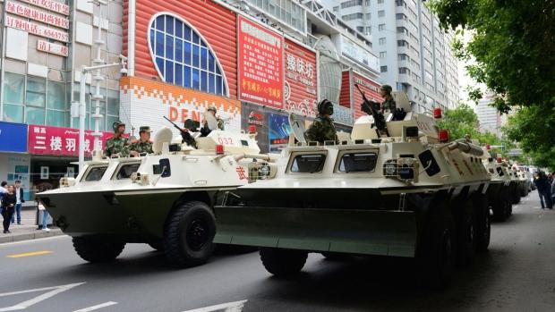 Paramilitary police in Urumqi, China