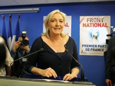 Marine Le Pen at National Front headquarters