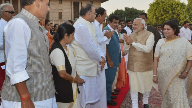 Prime Minister-elect Narendra Modi, second right