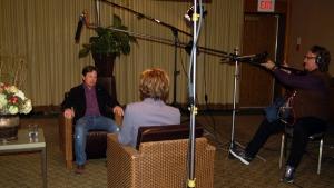Michael J. Fox with Avis Favaro in London, Ont. on Monday, November 21, 2011. (Phil Hahn / CTV News)