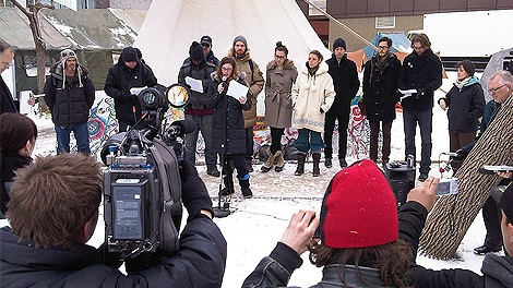 Facing eviction, Occupy Edmonton protestors say they won't leave the location at Jasper Ave. and 102 St.