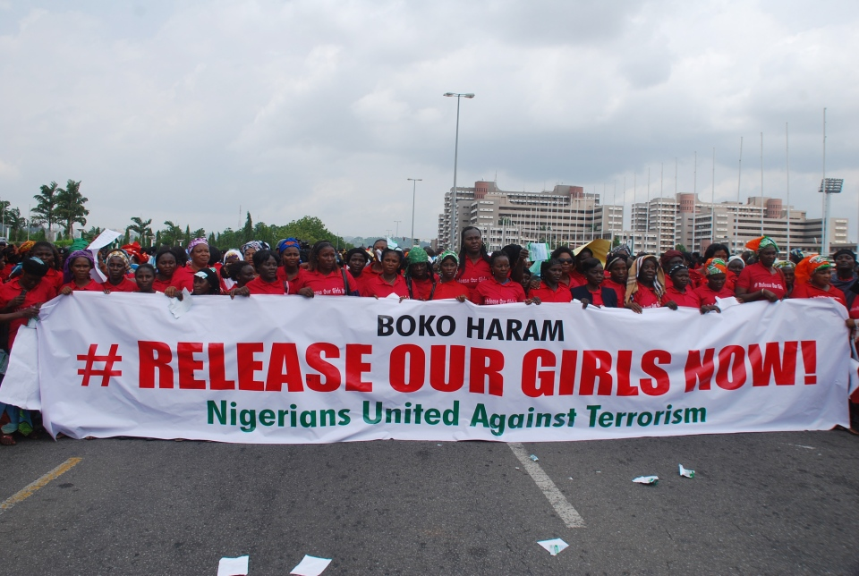 A group holds a demonstration, calling on the Nigerian government to rescue the kidnapped girls in Chibok, in Abuja, Nigeria on Monday, May 26, 2014.  (AP / Gbenga Olamikan)