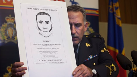 RCMP Cpl. Dan Moskaluk adjusts a poster during a news conference in Vernon, B.C. on Wednesday November 23, 2011. Police say they believe the man who killed an 18-year-old woman in Armstrong, B.C. on Halloween is the same person who sexually assaulted a woman inside a Kelowna escort agency in 2005. Police made the revelation during a news conference into the ongoing investigation of Taylor Van Diest's death. (THE CANADIAN PRESS/Jeff Bassett)