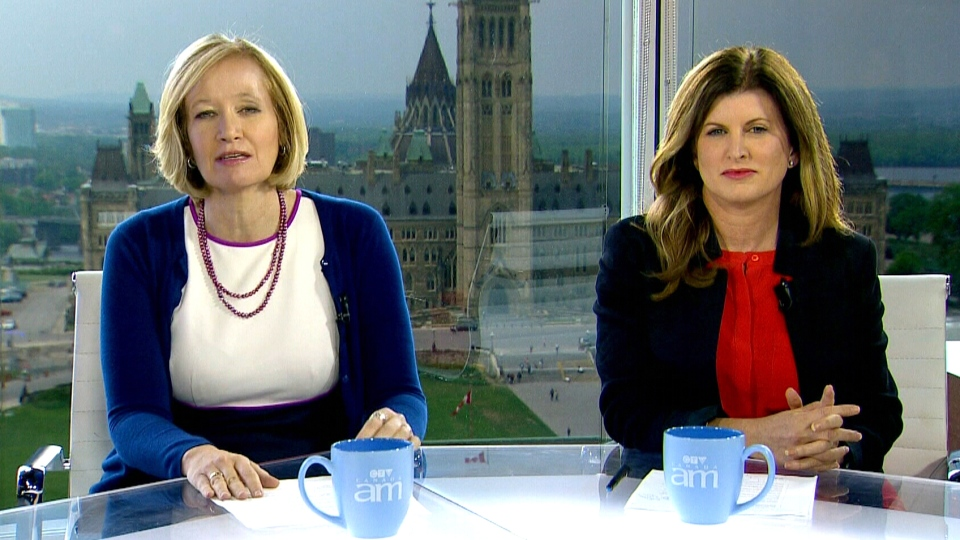 Laureen Harper, left, and Health Minister Rona Ambrose appear on Canada AM from CTV studios in Ottawa, Wednesday, May 28, 2014.
