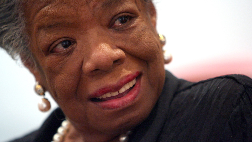 American poet and novelist Maya Angelou smiles during an interview with The Associated Press in New York, March 4, 2008. (AP / Mary Altaffer)