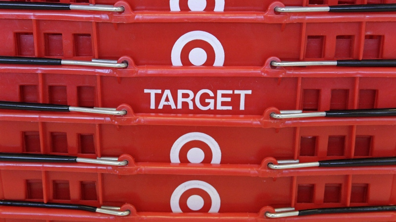 Shopping baskets are stacked at a Chicago area Target store Wednesday, May 20, 2009. (AP / Charles Rex Arbogast)