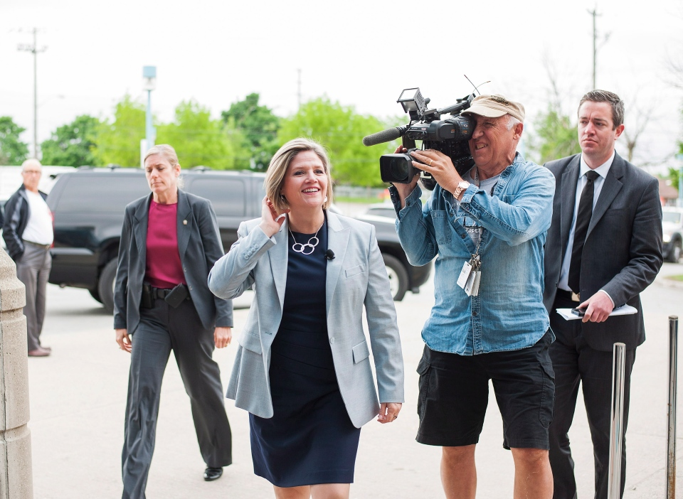 NDP Leader Andrea Horwath arrives at the International Bakery for a campaign and media event in Toronto on Wednesday May 28, 2014. (Aaron Vincent Elkaim / THE CANADIAN PRESS)
