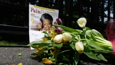 A bouquet of flowers at Maya Angelou's home