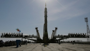 A Russia's Soyuz-FG booster rocket is seen before being released in Baikonur Cosmodrome, Kazakhstan on Monday, May 26, 2014. (AP / Dmitry Lovetsky)