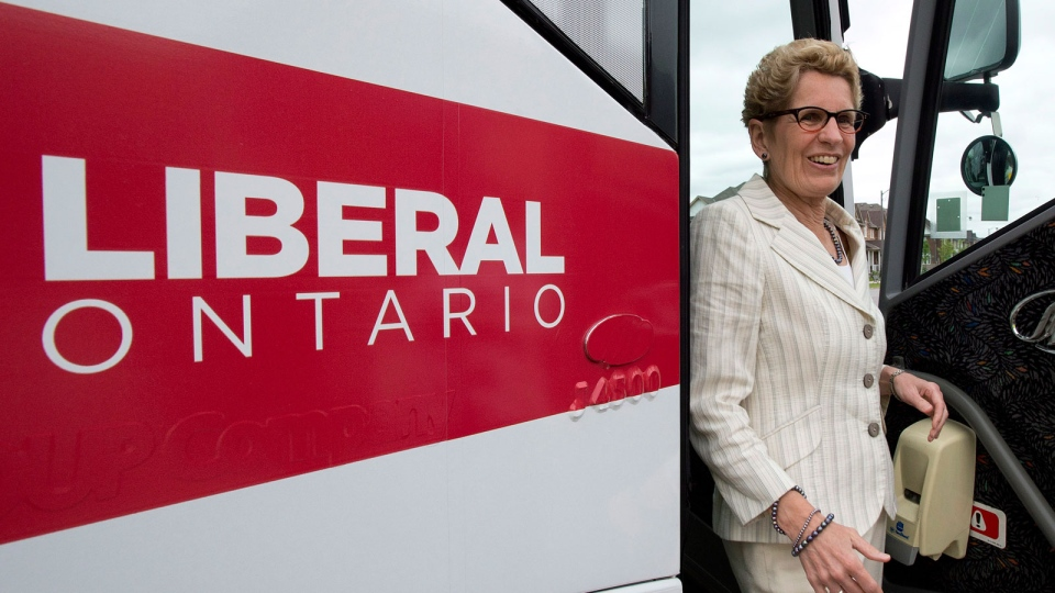 Ontario Liberal leader Kathleen Wynne arrives at a campaign stop in Markham, Ontario on Wednesday May 28, 2014, 2014. (Frank Gunn / THE CANADIAN PRESS)