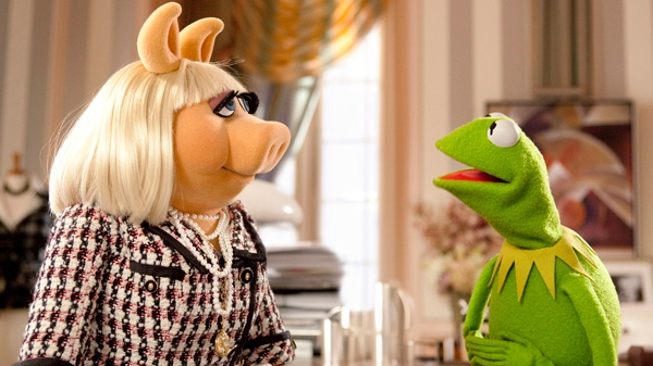Kermit the Frog, right, tries to persuade Miss Piggy to help save the Muppet Theater in Disney Enterprises' 'The Muppets.'