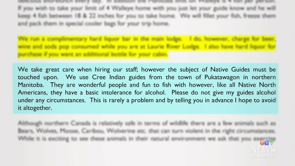 The owner of Laurie River Lodge says he is sorry for comments made about aboriginals and alcohol in a planning guide.
