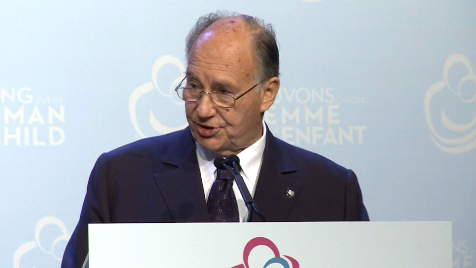 The Aga Khan speaks during a maternal health summit in Toronto, Thursday, May 29, 2014.