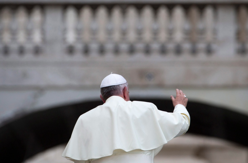 Pope Francis leaves at the end of his weekly general audience in St. Peter's Square, at the Vatican, Wednesday, May 28, 2014. (AP / Andrew Medichini)