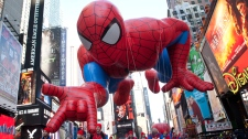 The 'Spiderman' float is seen during the Macy's Thanksgiving Day Parade in Times Square in New York on Thursday, Nov. 24, 2011. The parade premiered in 1924, this is its 85th year. (AP / Andrew Burton)