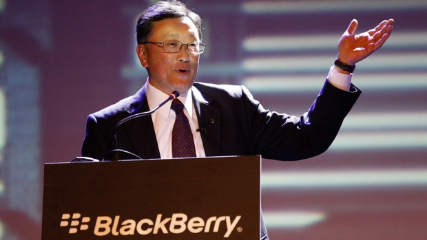 BlackBerry's CEO John Chen delivery his speech at the launch of the new Blackberry Z3 smartphone in Jakarta, Indonesia, Tuesday, May 13, 2014. (AP Photo/Achmad Ibrahim)