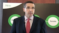 Kitchener Centre MPP John Milloy discusses the new GO train service in Kitchener, Ont. on Friday, Nov. 25, 2011.