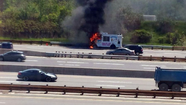 Ice cream truck catches fire on Highway 401