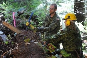 Clearance Diver and Explosives Ordinance Disposal (EOD) technicians Master Seaman (MS) Kenneth Jones and Petty Officer 2nd class (PO2) Shawn Goodine use a chain saw and pick to remove a large downed tree at the site of the Avro Anson aircraft crash on May 6, 2014. (Department of National Defence / Cpl. Brandon O'Connell)