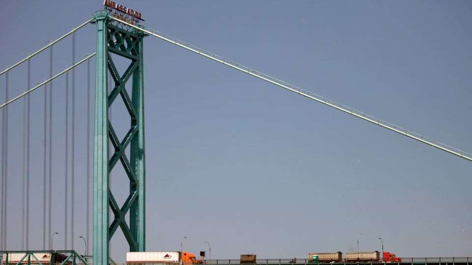 The Ambassador Bridge spans the Detroit River dividing Canada and the U.S., is shown on Friday June 15, 2012. A long-awaited new bridge at Canada's busiest border crossing will ease traffic gridlock and encourage trade. THE CANADIAN PRESS/Mark Spowart