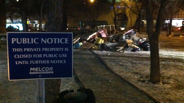 This photo shows what remains after police evicted Edmonton Occupy protesters during the early morning hours on Friday, Nov. 25, 2011. (CTV News / Matt Marshall)