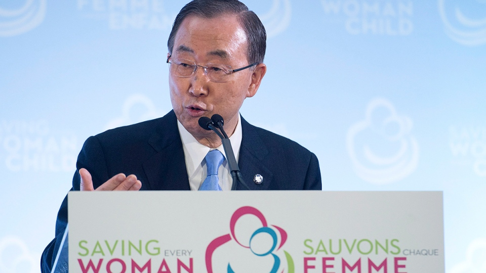 United Nations Secretary General Ban Ki-moon speaks to the media during the closing press conference after attending the Maternal, Newborn and Child Health Summit in Toronto on Friday, May 30, 2014. (Nathan Denette / THE CANADIAN PRESS)