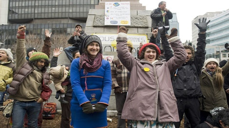 Protesters gather at an Occupy Montreal movement demonstration in Montreal, Saturday, November 26, 2011, a day after the camp was dismantled by authorities. THE CANADIAN PRESS/Graham Hughes
