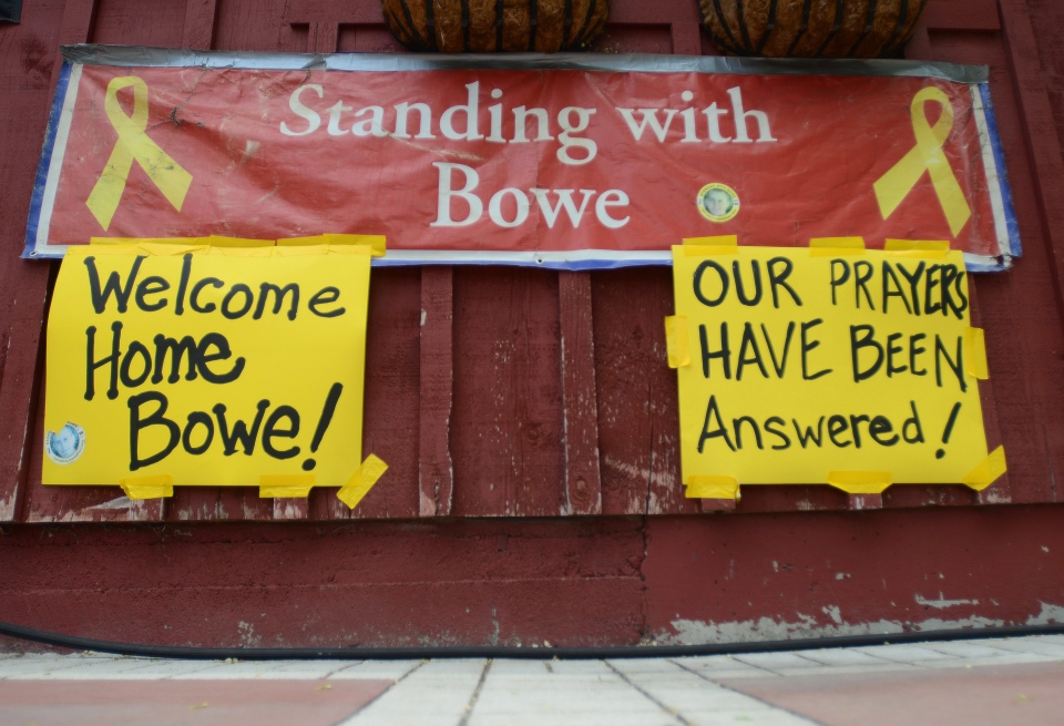 New signs hang at Zaney's coffee house in Hailey, Idaho after the announcement that U.S. Army Sgt. Bowe Bergdahl has been released from captivity. (The Times-News / Drew Nash)