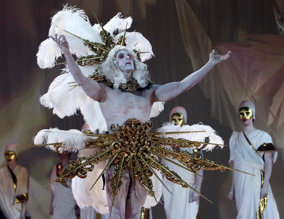 Models performs on stage during the opening ceremony of the Life Ball in front of City Hall in Vienna, Austria, Saturday, May 31, 2014. (AP Photo/Ronald Zak)