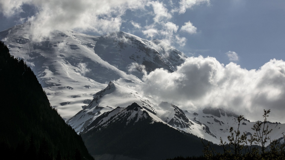 Mount Rainier as seen from the White River Campground, where six missing climbers attempting to summit, went missing and are believed dead after search attempts were suspended Saturday, May 31, 2014. (AP / The Seattle Times, Bettina Hansen)