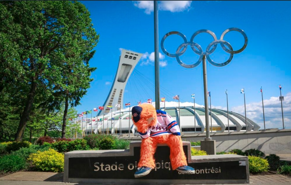 Montreal Canadiens mascot Youppi!, in front of Olympic Stadium in Montreal on Sunday, June 1, 2014. (TWITTER / Montreal Canadiens)