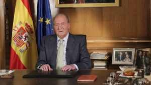 FILE -- Spain's King Juan Carlos announces his abdication on television in the Zarzuela Palace in Madrid, Monday June 2, 2014. (Spanish Royal Palace / EFE)