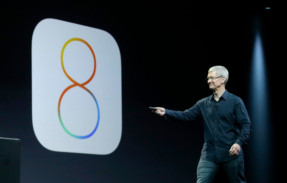 Apple CEO Tim Cook speaks about iOS 8 at the Apple Worldwide Developers Conference in San Francisco, Monday, June 2, 2014. (AP / Jeff Chiu)