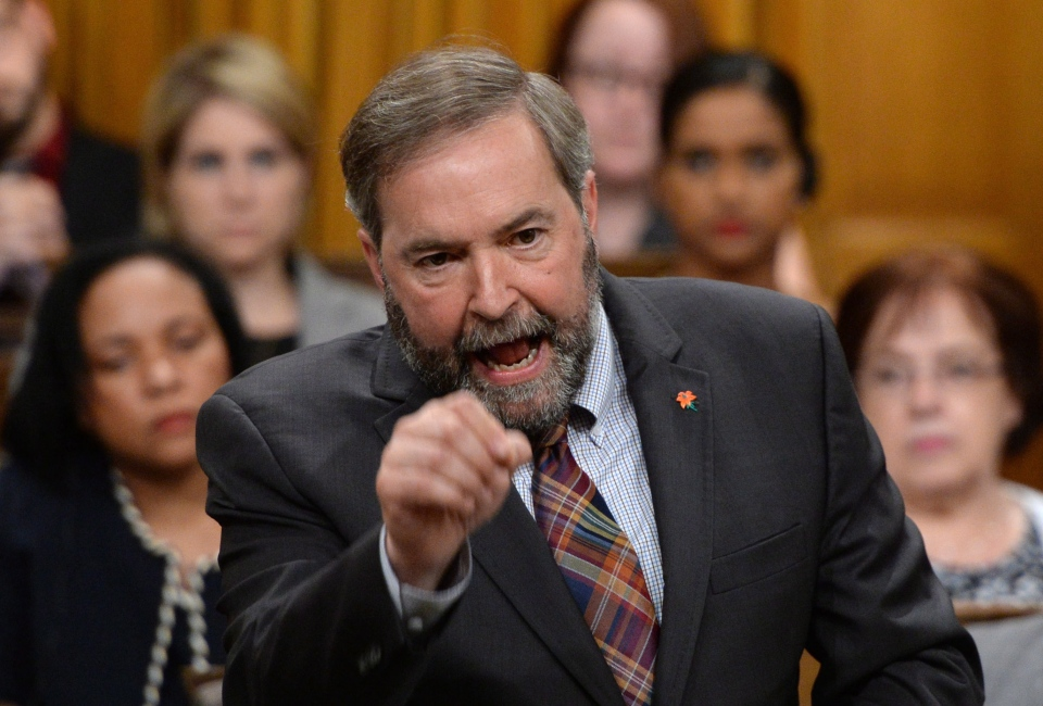 NDP Leader Tom Mulcair asks a question during question period in the House of Commons on Parliament Hill in Ottawa on Monday, June 2, 2014. (Sean Kilpatrick / THE CANADIAN PRESS)