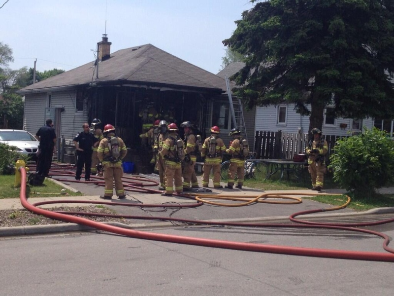 Fire crews were called to a home on Elgin Street in east end London, Ont. on Monday, June 2, 2014. (Daryl Newcombe / CTV London)