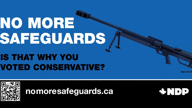 This provocative NDP billboard campaign attacking the Conservatives' decision to end the long-gun registry had to be changed at the last minute when it was revealed the ad targets the wrong gun.
